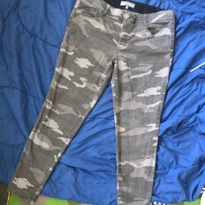 Light colored camo ankle pants